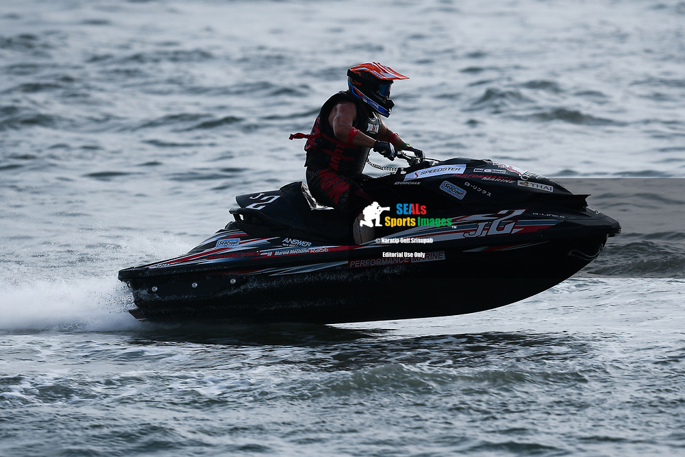 """PATTAYA, THAILAND - DECEMBER 09: Mitsuyuki """"Umichan"""" Umibe (J2) of Japan and B Links Performance Marine by Thai Airways in action during the Pro Runabout GP Moto4 at the Thai Airways International Jet Ski World Cup 2018, Jomtien Beach, Pattaya, Thailand on December 09, 2018. <br /> .<br /> .<br /> .<br /> (Photo by: Naratip Golf Srisupab/SEALs Sports Images)<br /> .<br /> Any image use must include a mandatory credit line adjacent to the content which should read: Naratip Golf Srisupab/SEALs Sports Images"""