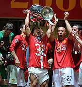 Carlos Tevez and the rest of the Man United team Celebrate with the European Cup. Chelsea V Manchester United 21/05/08.Manchester United win on Penalties after Extra Time.UEFA Champions League Final at the Luzhniki Stadium in Moscow.
