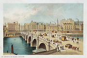 Thomas Telford's (1757-1834)  bridge over the Clyde at Broomielaw, Glasgow. His last stone bridge, begun 18  March 1833, opened 1 January 1836. Horse trams crossing bridge. Chromolithograph published 1891.