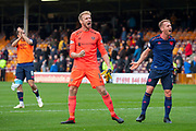 Zdenek Zlamal (#1) of Heart of Midlothian and Oliver Bozanic (#7) of Heart of Midlothian celebrate after Hearts win the Ladbrokes Scottish Premiership match between Motherwell and Heart of Midlothian at Fir Park, Motherwell, Scotland on 15 September 2018.