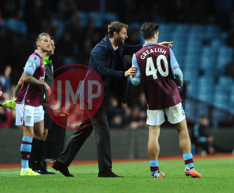 Aston Villa Manager Tim Sherwood passes instructions on to Jack Grealish of Aston Villa  - Mandatory byline: Joe Meredith/JMP - 07966386802 - 25/08/2015 - FOOTBALL - Villa Park -Birmingham,England - Aston Villa v Notts County - Capital One Cup - Second Round