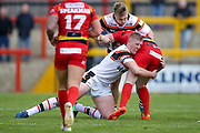 Bradford Bulls prop Liam Kirk (8) with a tackle during the Kingstone Press Championship match between Dewsbury Rams and Bradford Bulls at the Tetley's Stadium, Dewsbury, United Kingdom on 10 September 2017. Photo by Simon Davies.