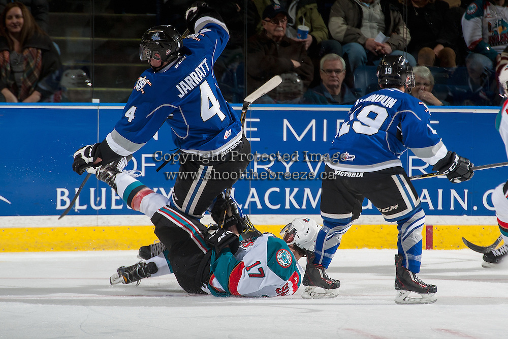 KELOWNA, CANADA - DECEMBER 30: Rodney Southam #17 of the Kelowna Rockets collides with Ralph Jarratt #4 of the Victoria Royals on December 30, 2016 at Prospera Place in Kelowna, British Columbia, Canada.  (Photo by Marissa Baecker/Shoot the Breeze)  *** Local Caption ***