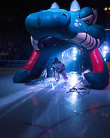 KELOWNA, CANADA - SEPTEMBER 25: The Pepsi Save On Foods Player of the game enters the ice at the Kelowna Rockets on September 25, 2015 at Prospera Place in Kelowna, British Columbia, Canada.  (Photo by Marissa Baecker/Shoot the Breeze)  *** Local Caption *** Pepsi Save On Foods Player of the Game;