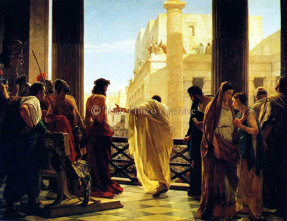 Antonio Ciseri's depiction of Pontius Pilate presenting a scourged Christ to the people Ecce homo! (Behold the man!). painted in the 19th century