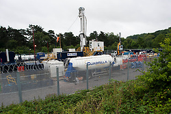 © London News Pictures. 16/08/2013. Balcombe, UK. A general view of the Cuadrilla drilling site in Balcombe, West Sussex which has been earmarked for fracking. Cuadrilla has temporarily ceased drilling at the site under advice from the police after campaign group No Dash For Gas threatened a weekend of civil disobedience. Photo credit: Ben Cawthra/LNP