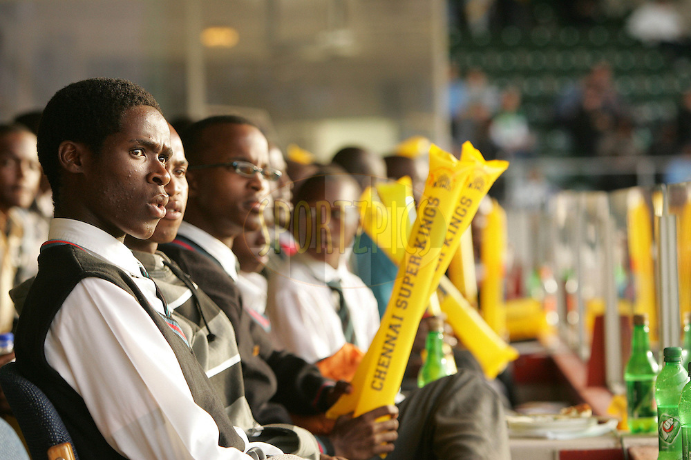 PORT ELIZABETH, SOUTH AFRICA - 20 April 2009. Schoolkids from the Ndzondelelo School enjoy the match from the President's Suite during the  IPL Season 2 match between the Chennai Superkings and the  Royal Challengers Bangalore held at St Georges Park in Port Elizabeth , South Africa..