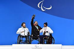 FRANCOIS_Frederic, SOKOLOVIC Dino, WALKER Tyler,  ParaSkiAlpin, Para Alpine Skiing, Slalom, Podium during the PyeongChang2018 Winter Paralympic Games, South Korea.