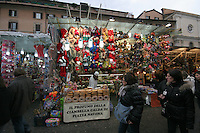 Outdoor Christmas market in Rome Italy