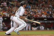 Apr 28, 2017; Phoenix, AZ, USA; Arizona Diamondbacks infielder Paul Goldschmidt (44) hits an RBI single in the third inning against the Colorado Rockies at Chase Field. Mandatory Credit: Jennifer Stewart-USA TODAY Sports