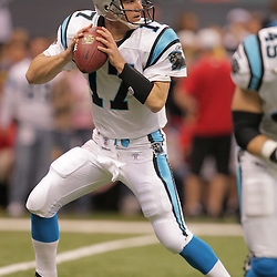2008 December, 28: Carolina Panthers quarterback Jake Delhomme (17) runs drills on the field prior to kickoff of a week 17 game between NFC South divisional rivals the Carolina Panthers and the New Orleans Saints at the Louisiana Superdome in New Orleans, LA.