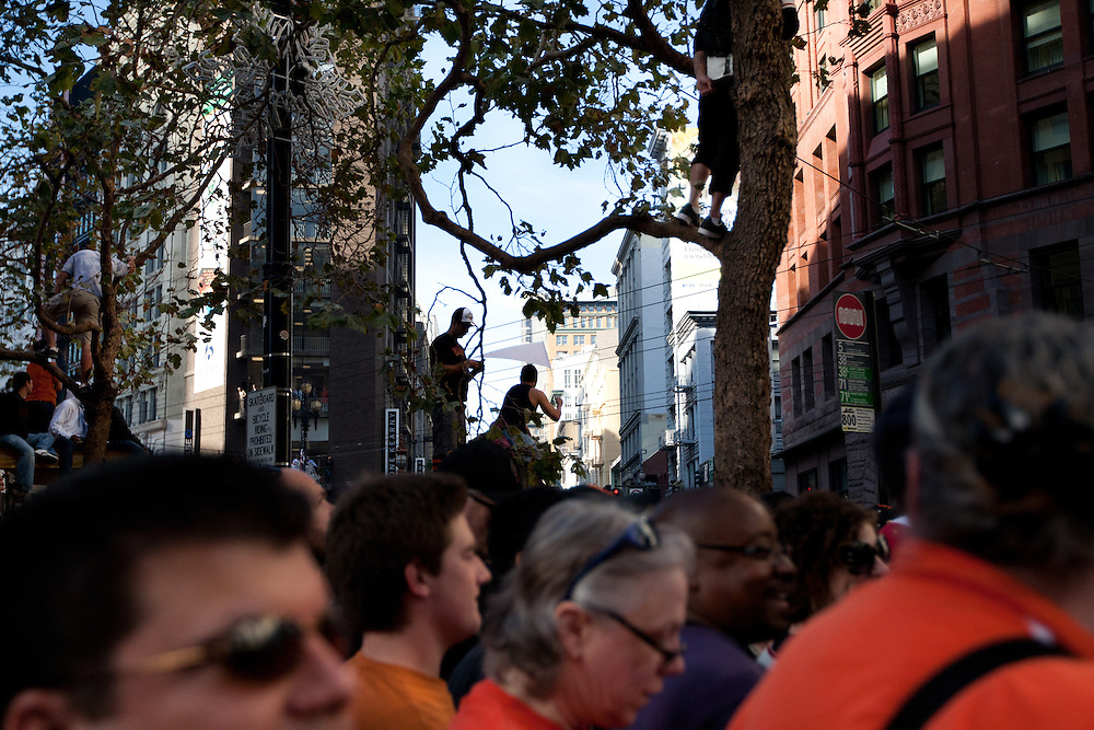 Approximately 1 million people attends San Francisco Giants Victory Parade on Market Street in celebration of winning the MLB World Series on Wednesday Nov. 3, 2010 in San Francisco, California. The Giants defeated the Texas Rangers in five games for their first championship since the team moved west from New York 52 years ago.