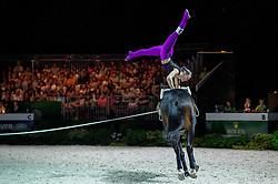 Elisabeth Bieri, (SUI), Rocky xxxviii CH, Corinne Stump - Individuals Women Freestyle Vaulting - Alltech FEI World Equestrian Games™ 2014 - Normandy, France.<br /> © Hippo Foto Team - Jon Stroud<br /> 03/09/2014