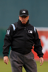 May 31, 2011; Oakland, CA, USA;  MLB umpire Jim Joyce (66) stands behind first base during the first inning between the Oakland Athletics and the New York Yankees at Oakland-Alameda County Coliseum. New York defeated Oakland 10-3.