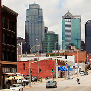 Kansas CIty Missouri skyline in daytime from Grand Avenue