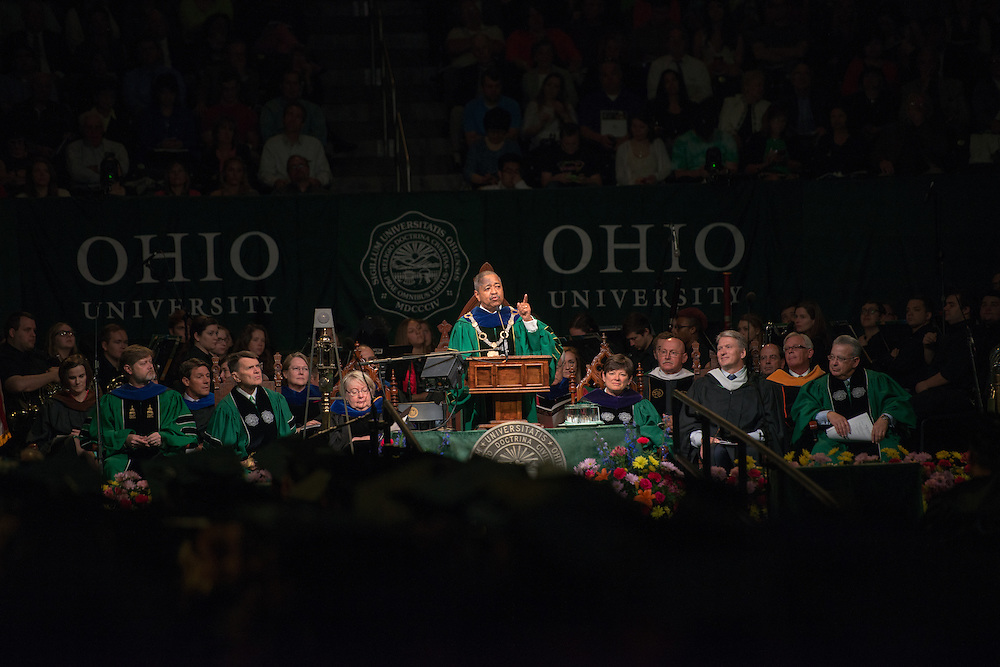 OHIO President Roderick McDavis speaks at undergraduate commencement. Photo by Ben Siegel