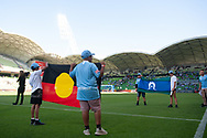 MELBOURNE, VICTORIA - JANUARY 06: Two flags are shown prior to the match at the Hyundai A-League Round 11 soccer match between Melbourne City FC and Newcastle Jets on at AAMI Park in NSW, Australia 06 January 2019. (Photo by Speed Media/Icon Sportswire)
