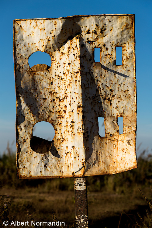 Railroad crossing sign with holes,Taunggyi