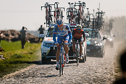 Rider of FDJ during the 115th Paris-Roubaix (1.UWT) from Compiègne to Roubaix (257 km) at cobblestones sector 17 from Hornaing to Wandignies, France, 9 April 2017. Photo by Pim Nijland / PelotonPhotos.com | All photos usage must carry mandatory copyright credit (Peloton Photos | Pim Nijland)