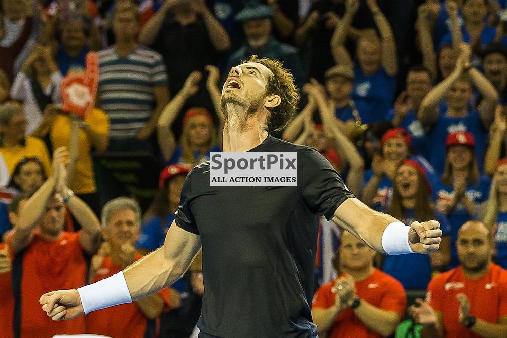 Andy Murray celebrates winning the Davis Cup Semi-final between Great Britian and Australia (c) ROSS EAGLESHAM | Sportpix.co.uk