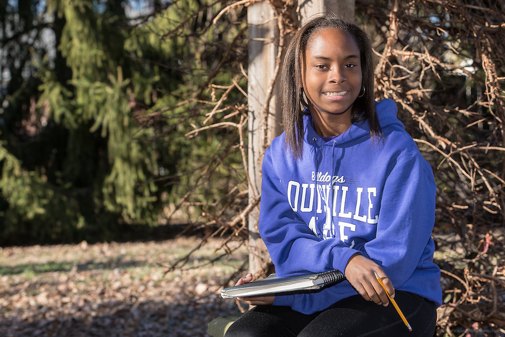Kimberly Jefferson, 16, a Male High School sophomore, is an artist and runs track. Photographed for The Courier-Journal, Jan. 19, 2015.  (Photo by Brian Bohannon)