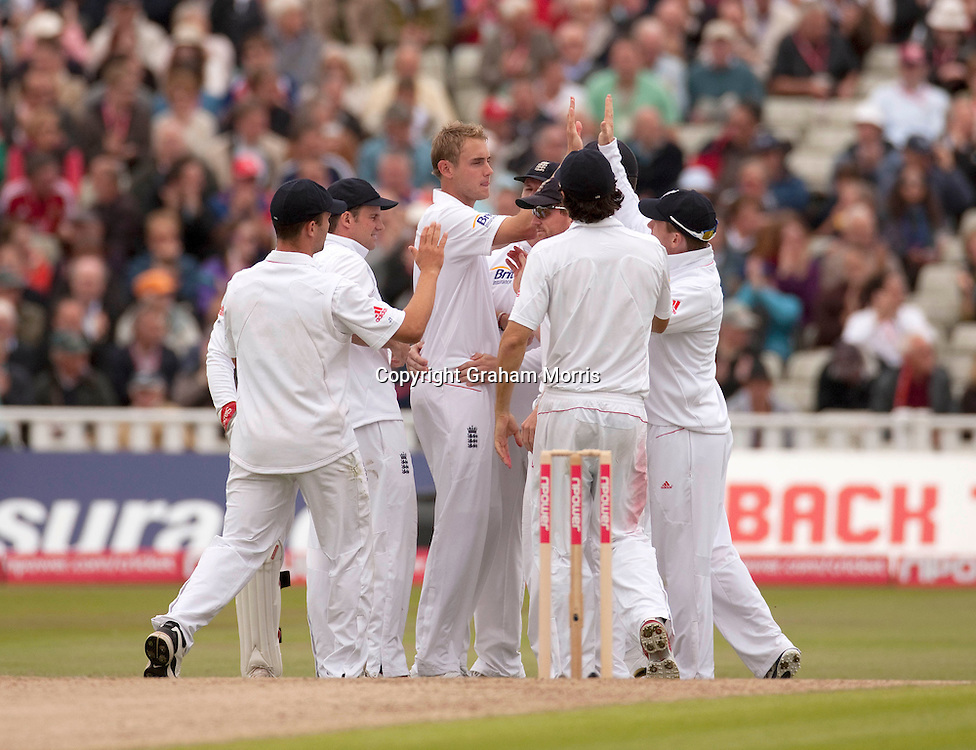 Stuart Broad celebrates the wicket of Umar Amin during the second npower Test Match between England and Pakistan at Edgbaston, Birmingham.  Photo: Graham Morris (Tel: +44(0)20 8969 4192 Email: sales@cricketpix.com) 06/08/10