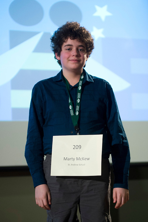 Marty McKew of St. Andrew School introduces himself during the Columbus Metro Regional Spelling Bee Regional Saturday, March 16, 2013. The Regional Spelling Bee was sponsored by Ohio University's Scripps College of Communication and held in Margaret M. Walter Hall on OU's main campus.