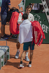 Roger Federer, Kei NISHIKORI, training ahead the Roland Garros French Open tournament, on May 21, 2019 in Paris, France. Photo by ABACAPRESS.COM