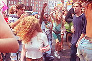 Ravers protesting on the streets, 2nd Criminal Justice March, Victoria, London, UK, July 23rd, 1994.