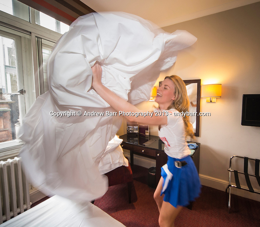 02:05:2013..Miss Scotland 2013 - chambermaid challenge at Grand Central Hotel...bed making with Emily..Pic:Andy Barr..07974 923919  (mobile).andy_snap@mac.com..All pictures copyright Andrew Barr Photography. ..Please contact before any syndication. .