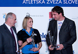 Martin Steiner, Sabina Veit and Primoz Kozmus  at Best Slovenian athlete of the year ceremony, on November 15, 2008 in Hotel Lev, Ljubljana, Slovenia. (Photo by Vid Ponikvar / Sportida)