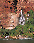 Waterfall at Vasey's Paradise, named by John Wesley Powel after botonist G.W. Vasey, Colorado River in foreground, Grand Canyon Natl. Park, Arizona..Subject photograph(s) are copyright Edward McCain. All rights are reserved except those specifically granted by Edward McCain in writing prior to publication...McCain Photography.211 S 4th Avenue.Tucson, AZ 85701-2103.(520) 623-1998.mobile: (520) 990-0999.fax: (520) 623-1190.http://www.mccainphoto.com.edward@mccainphoto.com.