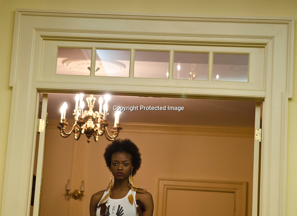 A model walks the runway during the Ukrainian Fashion Show at the Ukraine Embassy.