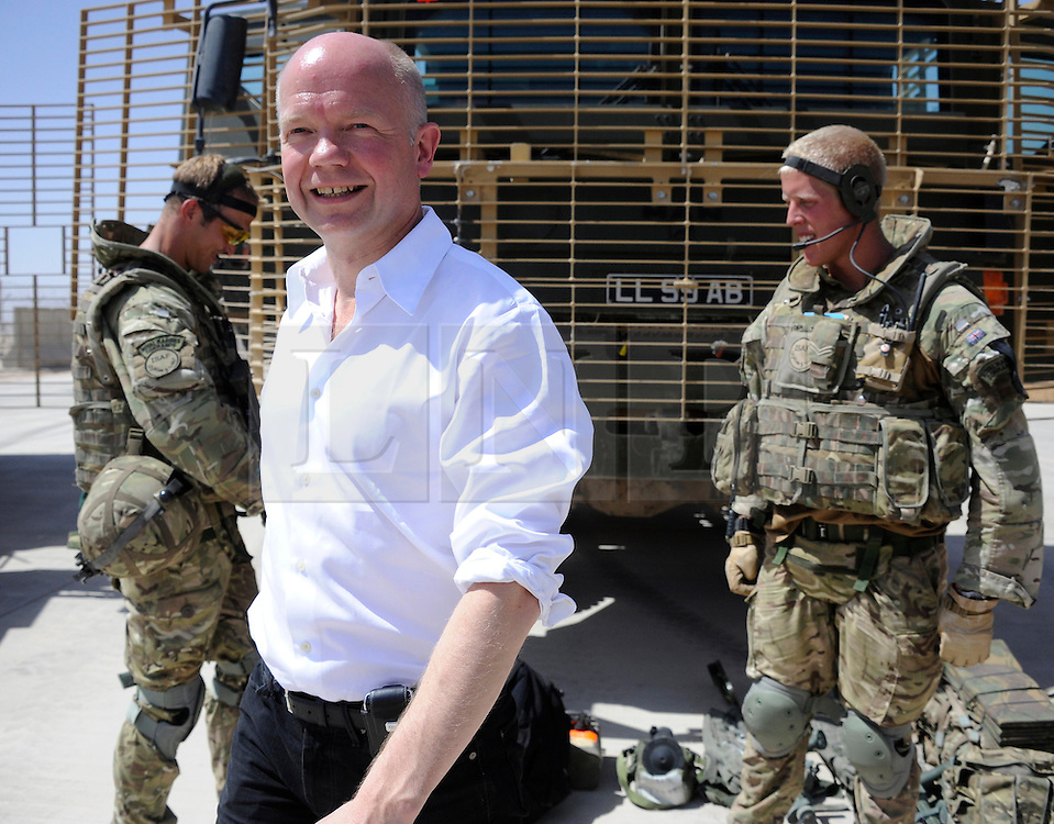 © under license to London News Pictures. Lashkar Gah, Afghanistan  21/06/2011. Foreign Secretary William Hague visits members of the Foreign and Commonwealth Office in Afghanistan today (21/22 Jun 11).  Along with meeting members of the Provincial Reconstruction Team, the Foreign Minister also made time in his schedule to visit British troops in Lashkar Gah and Camp Bastion. Mr Hague was accompanied by the Foreign Minister for the United Arab Emirates, Sheikh Abdullah bin Zayed Al Nahyan. Photo credit should read Alison Baskerville/LNP. Please see special instructions. © under license to London News Pictures