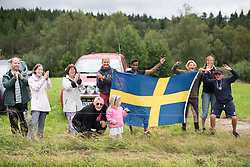 Spectators on the roadside on the second gravel section of the Crescent Vargarda - a 152 km road race, starting and finishing in Vargarda on August 13, 2017, in Vastra Gotaland, Sweden. (Photo by Balint Hamvas/Velofocus.com)