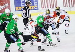 Gal Koren (HDD Olimpija), Teddy Da Costa (HC Orli Znojmo) during ice-hockey match between HDD Olimpija Ljubljana and HC Orli Znojmo in EBEL League 2016/17, on January 22, 2017 in Hala Tivoli, Ljubljana, Slovenia. Photo by Vid Ponikvar / Sportida