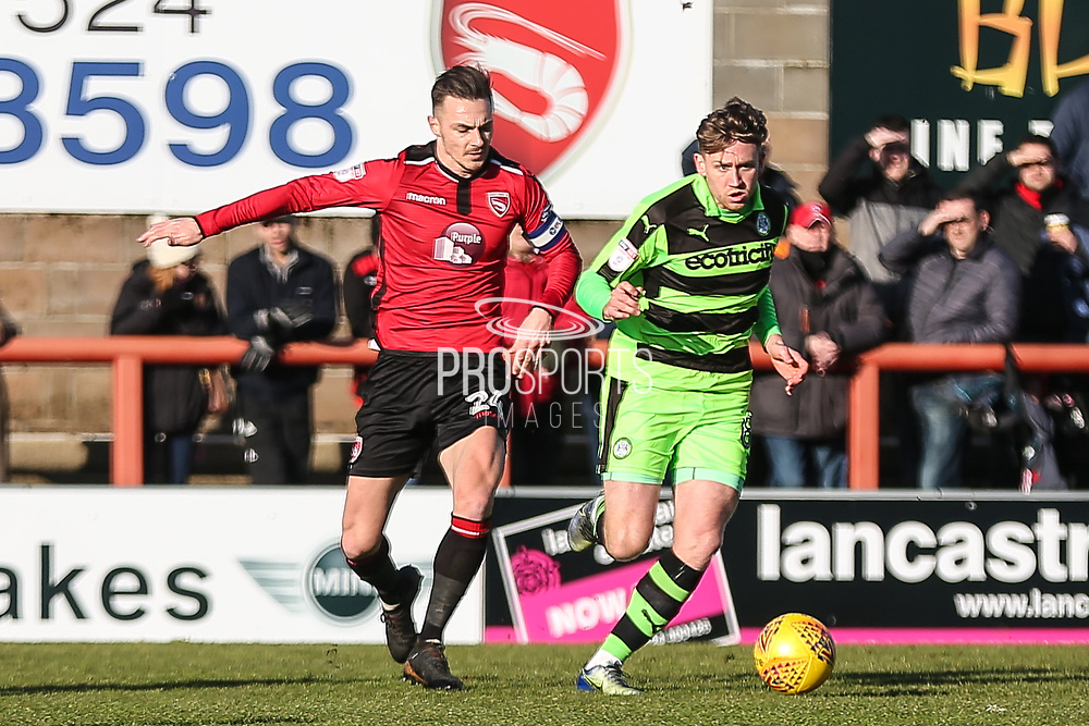 Forest Green Rovers Dayle Grubb(8) runs forward during the EFL Sky Bet League 2 match between Morecambe and Forest Green Rovers at the Globe Arena, Morecambe, England on 17 February 2018. Picture by Shane Healey.