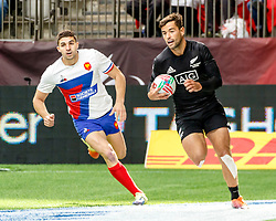 March 9, 2019 - Vancouver, BC, U.S. - VANCOUVER, BC - MARCH 10: Sam Dickson #7 of New Zealand scores during Game #4- New Zealand 7s vs France 7s in Pool C match-up at the Canada Sevens held March 9-10, 2019 at BC Place Stadium in Vancouver, BC, Canada.(Photo by Allan Hamilton/Icon Sportswire) (Credit Image: © Allan Hamilton/Icon SMI via ZUMA Press)