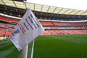 General view of The Emirates FA Cup Final corner flag before the The FA Cup Final match between Manchester City and Watford at Wembley Stadium, London, England on 18 May 2019.
