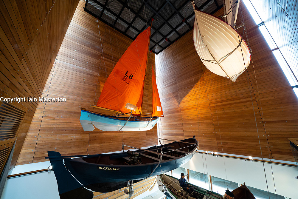 Display of typical local boats in Shetland Museum in Lerwick, Shetland , Scotland, UK