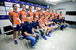 First row: Glenn Hoag, Tilen Kozamernik, Matej Vidic, Vid Jakopin, Ales Fabjan, Mitja Torkar, Eva Topole and Marko Sercer; Second row: Andrej Flajs, Alen Pajenk, Marcelo Barreto, Alen Sket, Jan Pokersnik, Matevz Kamnik, Oliver Venno, Dejan Vincic, Veljko Petkovic and Ramon Gato at press conference of volleyball club ACH Volley before new season 2009/2010,  on September 28, 2009, in Ljubljana, Slovenia.  (Photo by Vid Ponikvar / Sportida)