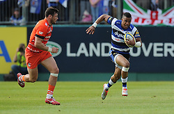 Bath Full Back Anthony Watson attacks inside the Leicester Tigers half.  - Photo mandatory by-line: Alex James/JMP - Mobile: 07966 386802 - 23/05/2015 - SPORT - Rugby - Bath - Recreation Ground - Bath v Leicester Tigers - Aviva Premiership Rugby semi-final
