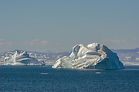 Icebergs off of Bontekoe Island on East Greenland.