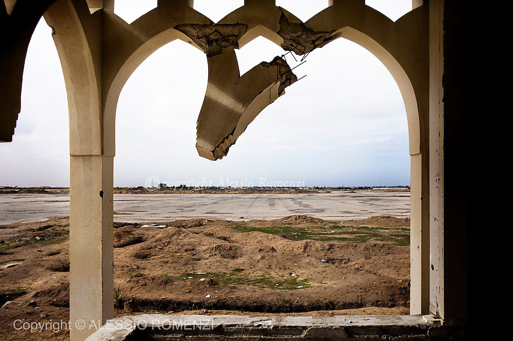 RAFAH, GAZA STRIP - February 1, 2010 : The ruins of the the Gaza International Airport, in Rafah, Gaza Strip. The airport which was once Gaza's main gateway to the outside world and was put out of action by Israeli aircraft and bulldozers in 2001 and 2002 after the start of the Al Aqsa intifada.<br /> &copy; ALESSIO ROMENZI