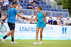 LIVERPOOL, ENGLAND - Friday, June 16, 2017: Marcus Willis (GBR) and Corinna Dentoni (ITA) during Day Two of the Liverpool Hope University International Tennis Tournament 2017 at the Liverpool Cricket Club. (Pic by David Rawcliffe/Propaganda)