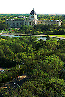 Saskatchewan Legislative building amid the green of Wascana Centre, Regina