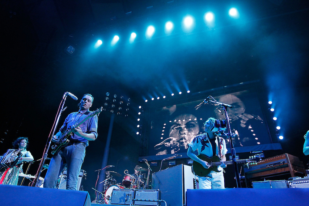 NEW YORK - AUGUST 04:  Arcade Fire in concert at Madison Square Garden on August 4, 2010 in New York City.  (Photo by Joe Kohen/WireImage for New York Post)
