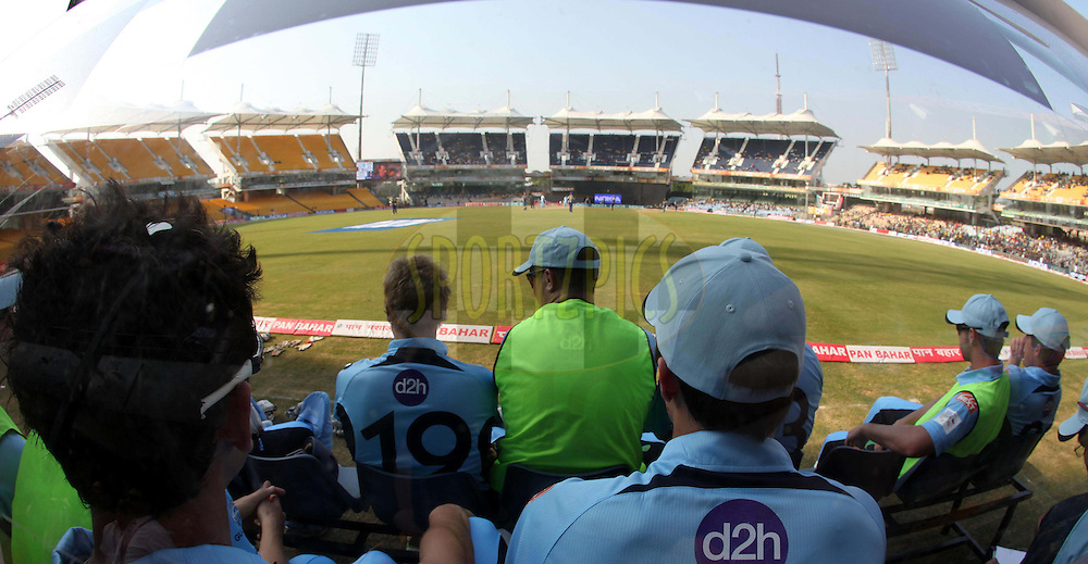 View from the NSW dugout during match 2 of the NOKIA Champions League T20 ( CLT20 )between the Cape Cobras and the New South Wales Blues held at the M. A. Chidambaram Stadium in Chennai , Tamil Nadu, India on the 24th September 2011..Photo by Ron Gaunt/BCCI/SPORTZPICS