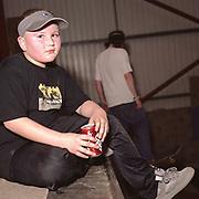 Teenage boy drinking Dr Pepper, Cardiff, 2000's