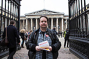 Ed Gregory on The British museum picket line. PCS Budget Day Strikes were held all over London, followed by a rally outside the House of Commons. 20th March 2013.